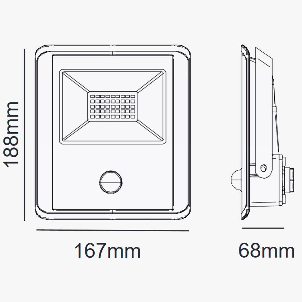 medidas foco proyector led 50w sensor movimiento kiolight